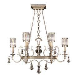 Fine Art Lamps - Fine Art Lamps 583840-2ST Eaton Place Silver Leaf 6 Light Chandelier - 6 Bulbs, Bulb Type: 60 Watt Candelabra; Weight: 76lbs