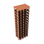 "Wine Racks America - 48 Bottle Kitchen Wine Rack in Premium Redwood, (Unstained) - Store 4 complete cases of wine in less than 20"" of wall space. Just over 4 feet tall, this narrow wine rack fits perfectly in hallways, closets and other ""catch-all"" spaces in your home or den. The solid wood top serves as a shelf or table top for added convenience and storage of nick-nacks."