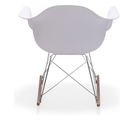 Zuo - Rocket Occasional Chair - The Rocket Occasional Chair puts a retro twist on the modern rocking chair. With a thick and comfortable white plastic seat that melds to your body, this graceful glider has sturdy wooden rockers attached to a chromed steel base. The Rocket Occasional Chair is perfect for an accent chair in the living room, or as a sophisticated addition to a stylish nursery. This mid-century modern rocking chair is sure to be your favorite seat in the house.