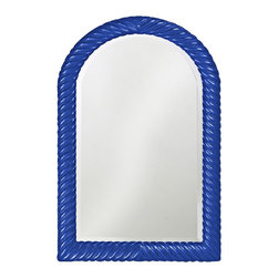 "Howard Elliott - Traditional Howard Elliott Montreal 26"" x 40"" Royal Blue Wall Mirror - Blue wall mirror. Arch shape. Resin construction. Twisted ribbed design. Glossy finish. Mirror only is 20"" wide 34"" high. Hang weight is 20 pounds. Made to order. 26"" wide. 40"" high. 1"" deep.     Blue wall mirror.  Arch shape.  Resin construction.  Twisted ribbed design.  Glossy finish.  Mirror only is 20"" wide 34"" high.  Hang weight is 20 pounds.  Made to order.  26"" wide.  40"" high.  1"" deep."