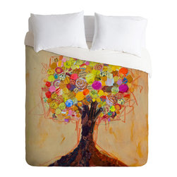 DENY Designs - Elizabeth St Hilaire Nelson Summer Tree Duvet Cover - Turn your basic, boring down comforter into the super stylish focal point of your bedroom. Our Luxe Duvet is made from a heavy-weight luxurious woven polyester with a 50% cotton/50% polyester cream bottom. It also includes a hidden zipper with interior corner ties to secure your comforter. it's comfy, fade-resistant, and custom printed for each and every customer.