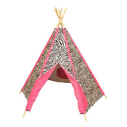 "Ozark Mountain Kids - Hot Pink Zebra TeePee - Features: -Hot Pink Zebra collection. -Hardwood dowels that will just fan out to put up and then can fold up in a corner when not in use. -Sometimes a person just needs to get away and this is getting away in style. -Large front door and a smaller covered window in back. Dimensions: -72"" H x 65"" W x 65"" D, 8 lbs."