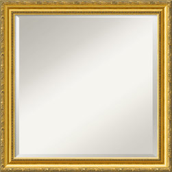 "Amanti Art - Colonial Embossed Gold Wall Mirror - This mirror features a bright mottled gold frame with an antique tan patina along the embossed floral leaf design of the outer edge and beaded inner edges. The frame is 2"" wide and is made of wood, which is considered the finest choice in framing materials."