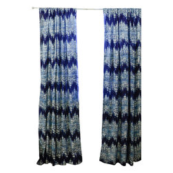 Ichcha - Reflection Ikat Window Curtain - Block printed with natural dye Indigo on off white, light weight cotton window panel.