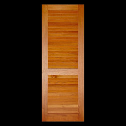 Kestrel Shutters & Doors - Louvered Doors - Custom sized stile and rails doors built from Sapele Mahogany using traditional pegged, mortise and tenon joinery.  Available with fixed ventilation louvers (shown) as well as operable louvers and Faux / false non-venting louvers.