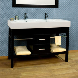 "48"" Manhattan Double Console Vanity - The sleek design of this console vanity features side towel racks and slatted lower shelves, perfect for storing linens. The double sink design makes this an excellent choice for those desiring a double vanity in a smaller bathroom."