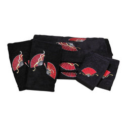 Oriental Furniture - Asian Fan Bath Set - 7 Piece - Black - This 7 piece luxury bath towel set features an embroidered Asian fan design. These towels are made of extraordinarily plush Turkish grown ring spun cotton with exceptionally fine high density embroidery. Set includes the following:
