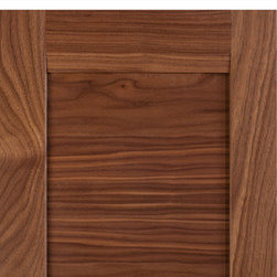 "Transitional-Contemporary Combination Frame Cabinet Door, Select Walnut - Combination frame cabinet door in Select Walnut with MW9 rails and 3/8"" solid wood, horizontal grain panel."