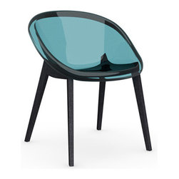 Calligaris - Bloom Chair, Graphite Legs, Transparent Aquamarine - The transparent modern chair with substance, thanks to the tint of color in the technopolymer shell and the solid beech wood legs. You'll love the air of modern chic it will bring to your space, as well as its super clean lines.