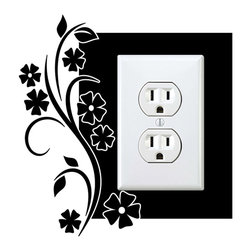 StickONmania - Outlet Flowers #27 Sticker - a vinyl decal sticker to decorate a wall outlet.  Decorate your home with original vinyl decals made to order in our shop located in the USA. We only use the best equipment and materials to guarantee the everlasting quality of each vinyl sticker. Our original wall art design stickers are easy to apply on most flat surfaces, including slightly textured walls, windows, mirrors, or any smooth surface. Some wall decals may come in multiple pieces due to the size of the design, different sizes of most of our vinyl stickers are available, please message us for a quote. Interior wall decor stickers come with a MATTE finish that is easier to remove from painted surfaces but Exterior stickers for cars,  bathrooms and refrigerators come with a stickier GLOSSY finish that can also be used for exterior purposes. We DO NOT recommend using glossy finish stickers on walls. All of our Vinyl wall decals are removable but not re-positionable, simply peel and stick, no glue or chemicals needed. Our decals always come with instructions and if you order from Houzz we will always add a small thank you gift.