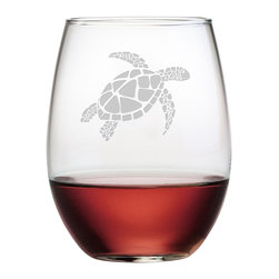 Susquehanna Glass - Sea Turtle Rocks Glass, 14oz, S/4 - Each 21 ounce stemless tumbler is sand etched with an intricate sea turtle design. Dishwasher safe. Sold as a set of four. Made and decorated in the USA.