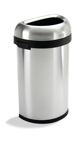 simplehuman - 60 Litre Semi-Round Open Can - This trash can is designed to take whatever you can dish out. With its sturdy stainless steel construction, 60-liter capacity and open-lid design, it's ideal for commercial spaces or big families on the go. The flat back sits flush against the wall too, saving space.