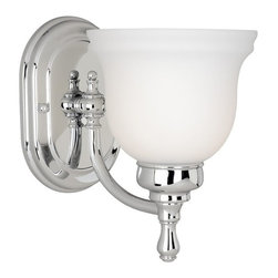 Vaxcel Lighting - Vaxcel Lighting Cologne Transitional Wall Sconce X-HC100ULV-LC - Need a light fixture that will match your bathroom hardware? If so, the all popular chrome finish is featured here with the Cologne 1 light wall sconce. Accented with a Frosted Opal Glass, you are sure to create a fully harmonious bathroom or space with this light. It is also offered in popular finishes like Brushed Nickel and Oil Brushed Bronze..take your pick!