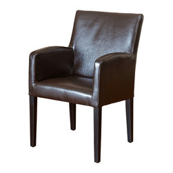 Great Deal Furniture - Byron Brown Leather Arm Chair - If you are looking to step away from traditional club chairs and buy something with both class and a contemporary flair, then our Byron Brown Leather Arm Chair is the piece for you. Sink into this comfortable chair, made of soft, durable leather with a sturdy real wood frame that will mesh beautifully with any decor in any room. The leather upholstery and modern twist on a classic look is sure to be the perfect chair for your living room, dining room, office, or study.