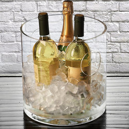 Round Round Ice Bucket/Cooler - Stylishly unadorned lines and simple circular forms make the Round Ice Bucket and Cooler a flattering complement to your barware, its transparent glass adding a clean, easy-to-pair style to your home or patio while its neatly expressive cylindrical walls maximize the ease of chilling drinks. Begin a barware set or complement it gorgeously with this practical piece.