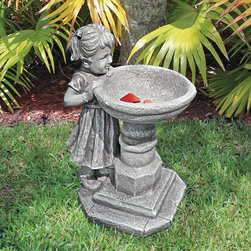 Design Toscano - Design Toscano Georgina's Garden Gaze Child at Birdbath Statue - SH38018613 - Shop for Garden Bird Baths from Hayneedle.com! About Design Toscano:Design Toscano is the country's premier source for statues and other historical and antique replicas which are available through the company's catalog and website. Design Toscano's founders Michael and Marilyn Stopka created Design Toscano in 1990. While on a trip to Paris the Stopkas first saw the marvelous carvings of gargoyles and water spouts at the Notre Dame Cathedral. Inspired by the beauty and mystery of these pieces they decided to introduce the world of medieval gargoyles to America in 1993. On a later trip to Albi France the Stopkas had the pleasure of being exposed to the world of Jacquard tapestries that they added quickly to the growing catalog. Since then the company's product line has grown to include Egyptian Medieval and other period pieces that are now among the current favorites of Design Toscano customers along with an extensive collection of garden fountains statuary authentic canvas replicas of oil painting masterpieces and other antique art reproductions. At Design Toscano attention to detail is important. Travel directly to the source for all historical replicas ensures brilliant design.