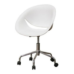 Wholesale Interiors - Baxton Studio Justina Office Chair in White - Set of 2 - The Justina Office Chair provides an office or home desk area a clean, contemporary look with an unmistakable dose of sass.