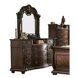Homelegance - Homelegance Palace Dresser with Mirror in Brown Cherry - The Palace collection exemplifies the rest of Old World Europe. With egg and dart base moldings, rope twists under case tops and on bed posts, acanthus and tobacco leaf carvings, florets and inset marble tops, the Palace collection has it all.