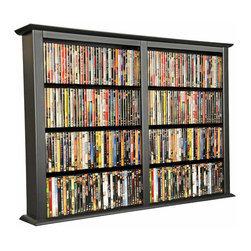 Venture Horizon - Wall Mounted Cabinet-Double - Black - You may have seen other Wall Mounted Media Cabinets but you have never come across the styling, variety, or storage capacity of Venture Horizon Media Cabinets. The Wall Mounted Media Cabinets will indeed hold an entire media collection and then some. All that in a wall hugging slim cabinet design. Our Wall Mounted Media Cabinets are constructed from heavy duty laminated wood composites.