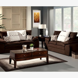 Modern Brown Fabric Sofa Couch Loveseat Soft Living Room Set Pillows - Soft to the touch, this earthy living room group is upholstered in dark brown fabric and comes with large accent pillows. With its low, large padded arms and white double stitching, this set combines comfort and style in one gorgeous package.