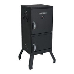 Brinkmann - Vertical Cooker - Vertical Charcoal cooker with Dual doors has heavy gauge steel construction two separate locking front doors for easy access two porcelain coated cooking grates with 50 pound capacity.