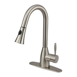 VIGO Industries - VIGO Stainless Steel Pull-Out Spray Kitchen Faucet with Deck Plate - Purchase a VIGO pull-out kitchen faucet for optimal spout reach and height.