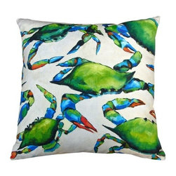 Robin Rowe - Blue Crabs Accent Pillow - An easy, breezy way to add freshness and color to any room in your home is with Indeed Decor's Blue crabs accent pillow.  Adding two or three accent pillows to your sofa or bed is an easy and inexpensive way to transform a room with bright and cheerful spring hues. A selection of Robin Rowe's original paintings are now printed on linen for a new line of designer pillows. The linen pillow back displays a stitched woven damask label of the Roweboat logo. The pillow is a down blend with an invisible zipper for easy cleaning. All pillows are Made in the USA. Each stunning pillow is offered in three sizes.  These pillows make much appreciated gift, if you can bear to part with one.