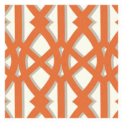 "Orange Trellis Indoor Outdoor Fabric - Oversized outdoor modern trellis in orange & gray. Phew_""""__no pruning needed!Recover your chair. Upholster a wall. Create a framed piece of art. Sew your own home accent. Whatever your decorating project, Loom's gorgeous, designer fabrics by the yard are up to the challenge!"