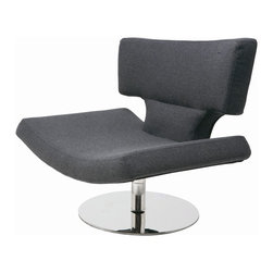 "Nuevo Living - Harper Modern Lounge Chair by Nuevo Living, Dark Grey - The Harper Lounge Chair by Nuevo Living offers an interesting, stylish form. Its plush cushion and back, made of fire-retardant foam are upholstered in a light or dark grey wool. Harper proudly sits on a stainless steel base. This stylish piece measures 29.75"" high by 34"" wide by 29.75"" in depth. Harper weighs 62 pounds and arrives by freight carrier."