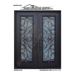 New wrought iron doors, model#155 - Pre-hung, Wrought iron double entry doors In Dark Bronze, Includes Dual-Pan Tempered Operable Glasses, Forged Pulls, Metal Threshold.