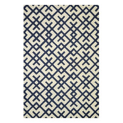 """Loloi Rugs - Loloi Rugs Weston Collection, Ivory and Navy, 5'-0""""x7'-6"""" - Feast your eyes on this. Hand-tufted in India of 100% wool, the tastefully designed Weston Collection features vibrant colors and bold, graphic patterns that instantly uplift the mood of your room. What's more, each Weston rug is crafted with a combination of colorful cut pile and ivory loops - adding a sense of depth and drama to these amazingly textural rugs."""