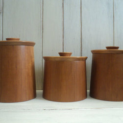 Set of Teak Canisters by Valerie's Vintage Home - Keep your tea, cookies and crispbreads tucked away in style in this lovely trio of solid teak, mid-century canisters. They're perfect for a tiny kitchen, where good-looking storage is a must.