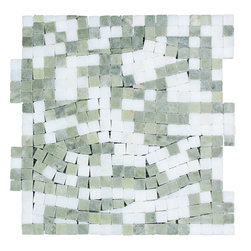 STONE TILE US - Stonetileus 30 pieces (30 Sq.ft) of Mosaic Secret Real White Verde Laguna -Tumbl - STONE TILE US - Mosaic Tile - Secret Real - White - Verde - Laguna -Tumbled Coverage: 1 Sq.ft size:  - 1 Sq.ft/Sheet Sheet mount:Meshed back Stone tiles have natural variations therefore color may vary between tiles. This tile contains mixture of white - Green - and color movement expectation of high variation, The beauty of this natural stone Mosaic comes with the convenience of high quality and easy installation advantage. This tile has Tumbled surface, and this makes them ideal for walls, kitchen, bathroom, outdoor, Sheets are curved on all four sides, allowing them to fit together to produce a seamless surface area. Recommended use: Indoor - Outdoor - High traffic - Low traffic - Recommended areas: Secret Real - White - Verde - Laguna -Tumbled tile ideal for walls, kitchen, bathroom,Free shipping.. Set of 30 pieces, Covers 30 sq.ft.