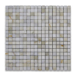 """Stone Center Corp - Calacatta Gold Marble Square Mosaic Tile 5/8x5/8 Polished - Calacatta Gold Marble 5/8x5/8"""" square pieces mounted on 12x12"""" sturdy mesh tile sheet"""