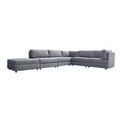 Seating - This modular sofa by Milo Baughman for Thayer Coggin consists of five individual sections which may be arranged to fit your room. The set comes with a large square ottoman with a lift-off top that conceals a storage area inside. The sectional has been newly reupholstered in grey chenille. - See more at: http://www.galeriesommerlath.com/inventory/milo-baughman-modular-sectional-for-thayer-coggin/#sthash.fuogK8kG.dpuf