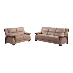 Global Furniture - UA1411 Beige Bonded Leather Three Piece Sofa Set With Mahogany Wood Trim - The UA1411 sofa set will add a stylish modern look to any decor it's placed in. This sofa set comes upholstered in a beautiful beige bonded leather in the front where your body touches. Skillfully chosen match material is used on the back and sides where contact is minimal. High density foam is placed within the cushions for added comfort. Each piece features wooden trim that runs along the side with a stunning mahogany finish. The price shown includes a sofa, loveseat, and chair only.