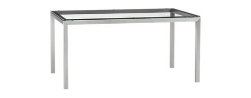 "Glass Top/ Stainless Steel Base 60x36 Parsons Dining Table - Start with the perfect base. Clean simple lines in four dining sizes are made of stainless steel with a contemporary matte finish and mitered corners. Floating glass top is ⅝"" thick with flat polished edge."