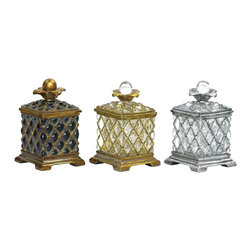 Sterling Industries - Sterling Industries Assyrian Boxes Set of 3 X-5411-78 - This set of three coordinating Sterling Industries Assyrian boxes is ideal for storage of various trinkets or even in use in a bathroom or vanity with cotton balls, cotton swabs and so forth. Each of the boxes feature glass construction, with varied colors and coordinating finishes to complete the look.