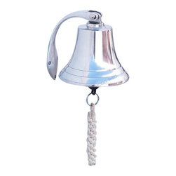 """Handcrafted Model Ships - Chrome Hanging Harbor Bell 5.5"""" - Decorative Chrome Bell - Elegantly designed and gleaming with a lustrous shine, this fabulous Chrome Hanging Harbor Bell 5.5"""" is equally stunning indoors or out, and is fully functional for actual use on the docks. Enjoy its wonderfully decorative style and distinct, warm nautical tone with each and every resounding ring. Each bell's length is measured from the highest point of its hanger to the lower lip of the bell, while the width is the diameter of the flared bell opening."""