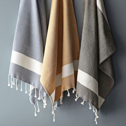 Honycomb Tassel Hand Towel - Mix a few of these exotic hand towels trimmed with contrast border stripes and fringe on two sides with your standard white set.