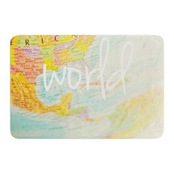 """KESS InHouse - Libertad Leal """"What a Wonderful World"""" Map Memory Foam Bath Mat (17"""" x 24"""") - These super absorbent bath mats will add comfort and style to your bathroom. These memory foam mats will feel like you are in a spa every time you step out of the shower. Available in two sizes, 17"""" x 24"""" and 24"""" x 36"""", with a .5"""" thickness and non skid backing, these will fit every style of bathroom. Add comfort like never before in front of your vanity, sink, bathtub, shower or even laundry room. Machine wash cold, gentle cycle, tumble dry low or lay flat to dry. Printed on single side."""