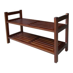 ORE International - 2-Tier Stackable Slatted Shoe Rack in Antique - Slat-shelf shoe rack. Made from Mahogany wood. Assembly required. 27.5 in. W x 10.5 in. D x 15.5 in. H (11 lbs.)Features classic styling and decorative to organize your space. Helps you keep your closet neat and organized. Easily stack together to create an even larger expanse of storage area. These practical shelf units are also perfect for hats and sporting gear, as the open slots in the shelves allow air to circulate more freely.