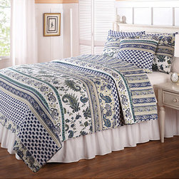 None - Sari 3-piece Quilt Set - Perfect for your summer cottage or guest room, this cotton twin quilt set features a fun paisley design that will add a crisp summery look to any room. Done in shades of yellow, blue, and green, this cozy set comes complete with one sham and one quilt.