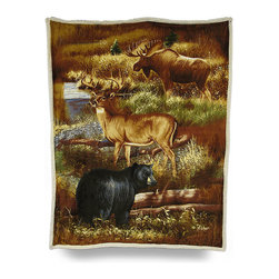 Zeckos - Reversible Hunters Treasure Microfiber/Sherpa Throw Blanket - Keeping the chill out while cozying up on the couch, a cabin chair or in front of a fire can't get any better than with this super soft reversible throw blanket Made of 100% polyester, it features a crisp image of a black bear, a big buck and a prize moose going for a drink at the river printed on ultra-soft microfiber on one side with soft fluffy white sherpa on the reverse, and being double layered means extra warmth for you The generous 50 inch wide by 60 inch long size makes it perfect to cozy up with just about anywhere, it looks great tossed on the bed, couch or chair and is a wonderful complement to outdoorsy decor. This super soft plush throw blanket makes an excellent gift for any nature or wildlife fancier