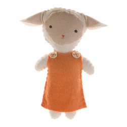 Kata Golda - Stuffed Lamb Companion, Girl - Kata Golda's Stuffed Companions make adorable playtime and cuddle pals. Hand-stitched with cotton thread and soft, hand-dyed wool felt, their hand-embroidered details make each one unique. Care: Gently spot wash with cold water by hand. Detergents can cause the wool to fade, so use caution and test in an inconspicuous area first.  Do not place items in the dryer; they will shrink.