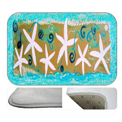 Starfish Fancy Plush Bath Mat, 20X15 - Bath mats from my original art and designs. Super soft plush fabric with a non skid backing. Eco friendly water base dyes that will not fade or alter the texture of the fabric. Washable 100 % polyester and mold resistant. Great for the bath room or anywhere in the home. At 1/2 inch thick our mats are softer and more plush than the typical comfort mats.Your toes will love you.