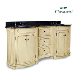 """Hardware Resources - Elements Tesla Vanity with Preassembled Top and Bowl in Painted Buttercream - This 74 1/4"""" wide MDF elliptical vanity is accented with reed columns and simple carvings. The buttercream finish with antique crackle is created by hand making each vanity unique. Two large cabinets and three center drawers equipped with full extension slides provide ample storage. This vanity has a 2CM black granite top preassembled with two H8809WH (15"""" x 12"""") bowl cut for 8"""" faucet spread and corresponding 2CM x 4"""" tall backsplash."""