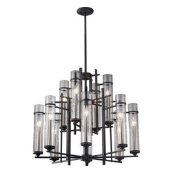 Feiss - Ethan Antique Forged Iron/Aged Walnut Twelve-Light Chandelier - -Clear�Glass  -Canopy: D:5? DP:3/4? Round  -Material: Steel  -120 Volts Feiss - F2629/8+4AF/BS