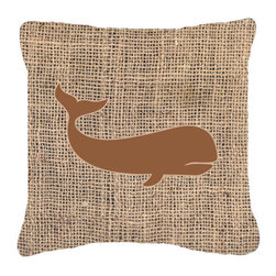 Caroline's Treasures - Whale Burlap and Brown Fabric Decorative Pillow BB1021 - Indoor or Outdoor Pillow from heavy weight Canvas. Has the feel of Sunbrella Fabric. 18 inch x 18 inch 100% Polyester Fabric Pillow Sham with Pillow form. This Pillow is made from our new canvas type fabric can be used Indoor or outdoor. Fade resistant, stain resistant and Machine washable.
