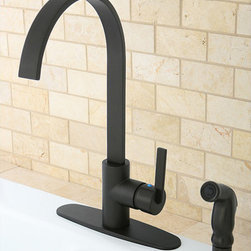 None - Continental Modern Oil Rubbed Bronze Kitchen Faucet - This lovely modern kitchen faucet features an elegant oil rubbed bronze finish. The continental modern kitchen faucet is made of solid brass making it sturdy and durable to withstand time. These kitchen faucets are also easy to install.
